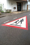 School children crossing road sign Royalty Free Stock Image