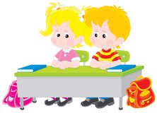 School children at a desk. Vector illustration of elementary school students sitting at a desk in a class Stock Photography