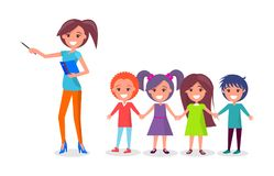 School Children on Excursion, Woman Guide Vector Royalty Free Stock Photos