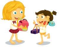 School children getting ready Royalty Free Stock Image