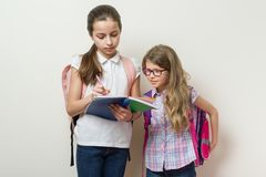 School children girlfriends. The older girl shows the younger notebook. stock photos