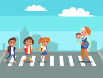 School Children and Grandpa with Grandson Vector. School children and grandfather with grandson on crosswalk vector illustration on background of cityscapes Stock Images