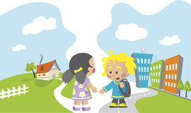 School children illustration Royalty Free Stock Image