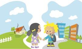 School children illustration Royalty Free Stock Image