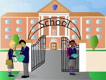 School and children illustration. An illustration of children outside a school building