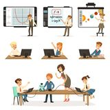 School children at the informatics and programming lesson set, kids working on computers, learning robotics and. Programming vector Illustrations on a white Royalty Free Stock Photo