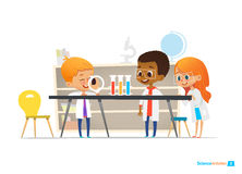 School children in lab clothing and safety glasses conduct scientific experiment with chemicals in chemistry laboratory. Educational science activities for stock illustration