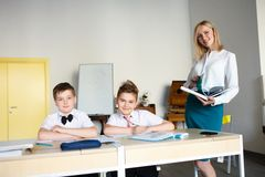 School. children learn in school. training students Royalty Free Stock Images