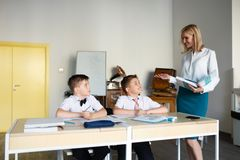 School. children learn in school. training students Stock Photos