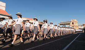 School children marching on Anzac Day stock photography