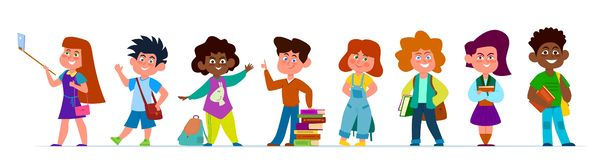 School children. Multiethnic boys and girls in casual clothes. Kids with backpacks and books in school time, vector