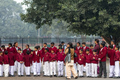 School Children Outside The Red Fort in Delhi India. December 2012 Royalty Free Stock Photo