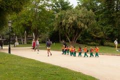 School children in a park Barcelona royalty free stock photos