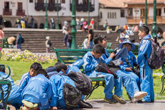 School children playing outdoors in Cusco, Peru Royalty Free Stock Photography