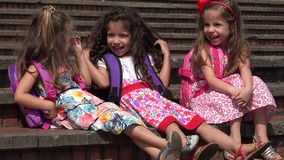 School Children Preschool Girls. Three young female preschool children stock video