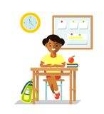 School children pupil in flat style Stock Photography