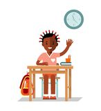 School children pupil in flat style Royalty Free Stock Images