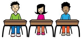 School children sat at desks. 3 school children sat behind their desks royalty free illustration