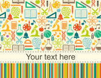 School children seamless background with place for text. School children seamless background. Flat Style education round pattern royalty free illustration