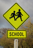 School Children Sign. Bright Road Warning of School children around the area Stock Photo
