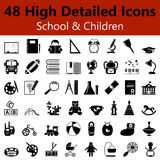 School and Children Smooth Icons Stock Photo