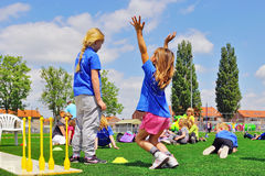 School children on sports day Royalty Free Stock Photos