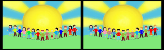 School children spot the difference. School children with ten spot the differences Royalty Free Stock Photography