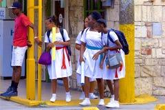 School children in Antigua, Caribbean stock image