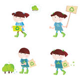 School children support recycling. Four cute children with recycle symbols. Vector cartoon illustration Stock Photos