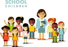 School children and teacher in flat style Stock Images