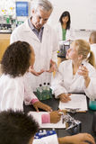 School children and their teacher in science class