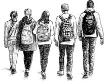 School children. Vector sketch of the walking teenagers Stock Photos