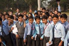 School children visiting Humayun's Tomb complex in Delhi, India Stock Photo