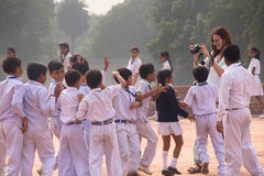 School children visiting Humayun's Tomb complex in Delhi, India Stock Photography