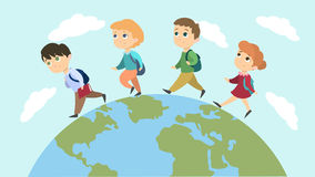 School children walk. School children walk on the planet with backpacks Stock Photo