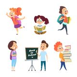 School childrens. Back to school characters isolated royalty free illustration