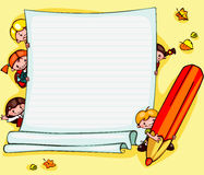 School childrens background. School childrens  yellow background. Place for text Royalty Free Stock Images