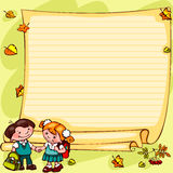 School childrens background. School childrens  yellow background. Place for text Stock Photos