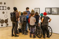 School class visit at MAC Museum stock images