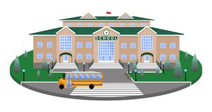 School, classic building on the circular platform of the lawn to the road,pedestrian crossing,with 3D effect section. School, classic light brick building with vector illustration