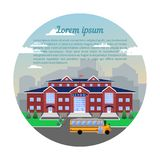 School, classical building,Against the city and sky.Image in circle. School, classical building of red brick with a blue roof,a clock,a flag,a lawn and a school stock illustration