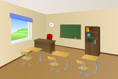 School classroom beige education table chair cabinet window illustration. Vector Stock Images