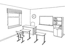 School classroom black white graphic art interior sketch illustration Stock Photography