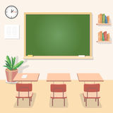 School classroom with chalkboard and desks. Class Royalty Free Stock Photography