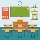 School classroom with chalkboard and desks. Vector stock illustration