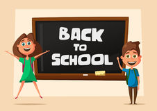 School classroom. Children and chalkboard. Cartoon vector illustration. Kids in the classroom. Back to school. For posters and banners Royalty Free Stock Photography