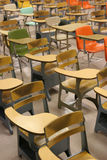 School Classroom Desks. Traditional school desks in a classroom Royalty Free Stock Images
