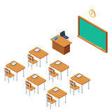 School classroom for education. School classroom with a chalkboard and desks. Class for education, board, table, the blackboard and lesson. Training, studying Royalty Free Stock Images