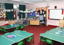 School classroom. Empty childrens primary school classroom Stock Photography