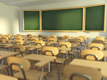 School classroom with empty school chairs and blackboard. Back t Royalty Free Stock Photos